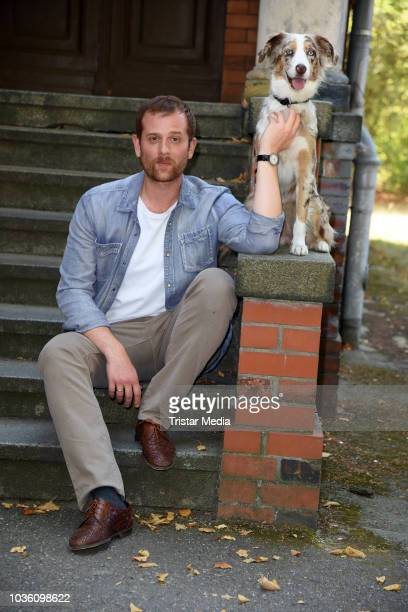 Christoph Schechinger and dog Kaethe during the ARD TV movie 'Kaethe und ich' photo call on set on September 19 2018 in Berlin Germany