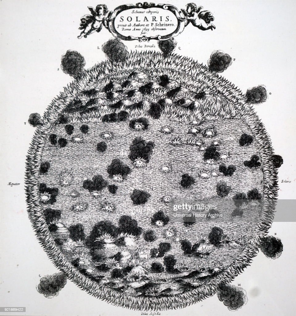 Christoph Scheiner's drawing of his idea of the surface of the sun. Christoph Scheiner (1573-1650) a Jesuit priest, physicist and astronomer. Dated 17th century.