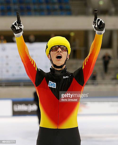 Christoph Schubert of Germany celebrates after the men's 5000m relay semifinal during the ISU European Short Track Speed Skating Championships 2014...