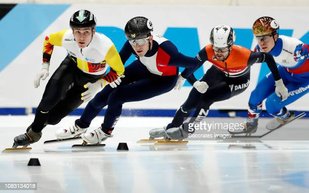 Christoph Schubert of Germany Dmitry Migunov of France Daan Breeuwsma of The Netherlands Semen Elistratov of Russia during the ISU European...