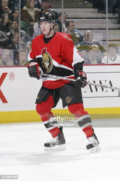 Christoph Schubert of the Ottawa Senators looks on against the Pittsburgh Penguins on March 21, 2006 at the Scotiabank Place in Ottawa, Ontario,...