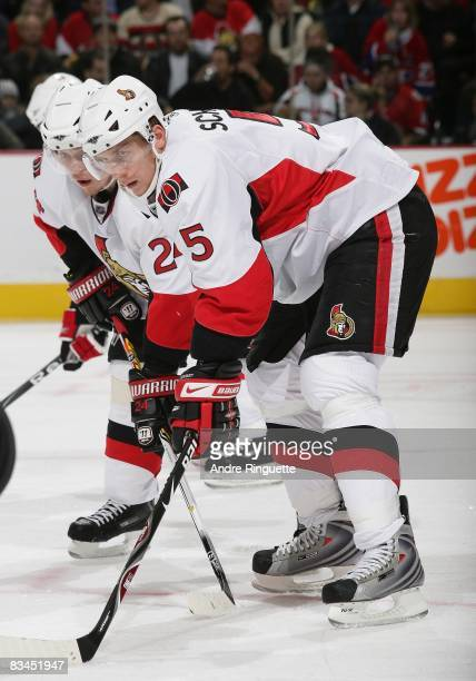 Christoph Schubert of the Ottawa Senators prepares for a faceoff against the Florida Panthers at Scotiabank Place on October 22 2008 in Ottawa...