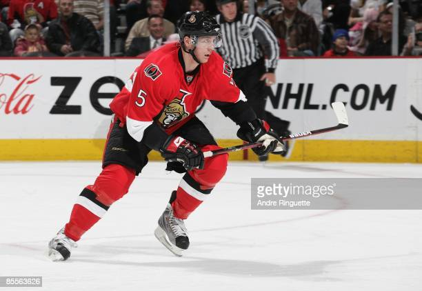 Christoph Schubert of the Ottawa Senators skates against the Buffalo Sabres at Scotiabank Place on March 17 2009 in Ottawa Ontario Canada