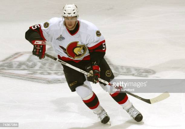Christoph Schubert of the Ottawa Senators skates with the puck during the second period of Game Two of the 2007 Stanley Cup finals against the...