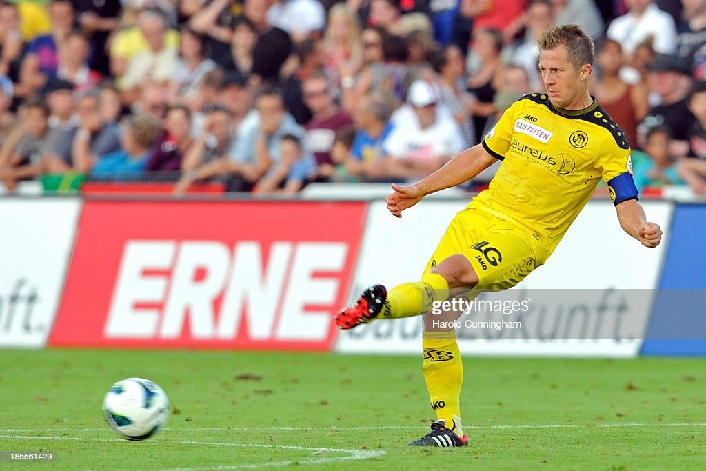Christoph Spycher in action during the Swiss Super League match between FC Aarau v BSC Young Boys at Brugglifeld on August 10, 2013 in Aarau, Switzerland.