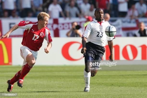 Christoph SPYCHER of Switzerland and Darius VASSELL of England during the European Championship match between England and Switzerland at Estadio...