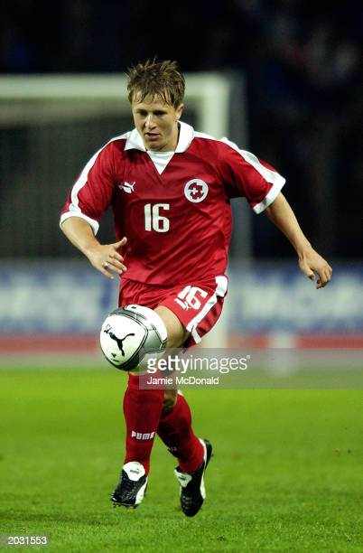 Christoph Spycher of Switzerland runs with the ball during the International Friendly match between Switzerland and Italy held on April 30, 2003 at...