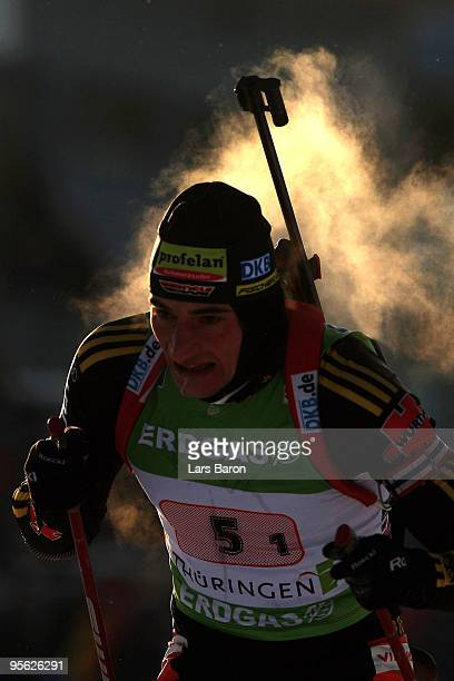 Christoph Stephan of Germany competes during the Men's 4 x 7,5km Relay in the e.on Ruhrgas IBU Biathlon World Cup on January 7, 2010 in Oberhof,...