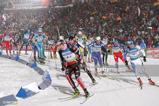 Christoph Stephan of Germany leads the field into the first corner of the men's relay during the e.on IBU Biathlon World Cup on January 05, 2011 in...