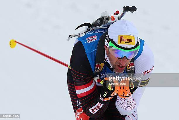 Christoph Sumann of Austria competes in the men's 10km sprint event during the IBU Biathlon World Cup on December 6 2013 in Hochfilzen Austria