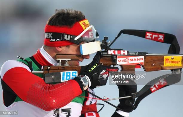 Christoph Sumann of Austria shoots during the Men 10 km sprint of the E.ON Ruhrgas IBU Biathlon World Cup on January 10, 2009 in Oberhof near Erfurt,...