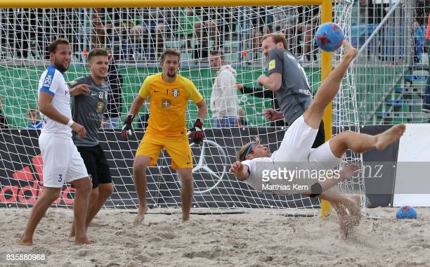 Christoph Thuerk of Rostock scores a goal during the final match between Rostocker Robben and Ibbenbuerener BSC on day 2 of the 2017 German Beach...