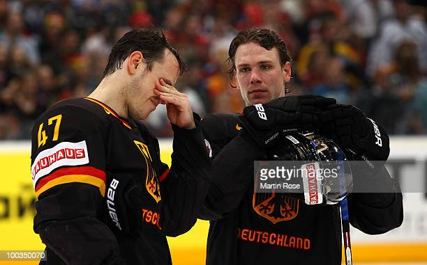 Christoph Ullmann and Alexander Barta of Germany look dejected after losing the IIHF World Championship bronze medal match between Sweden and Germany...