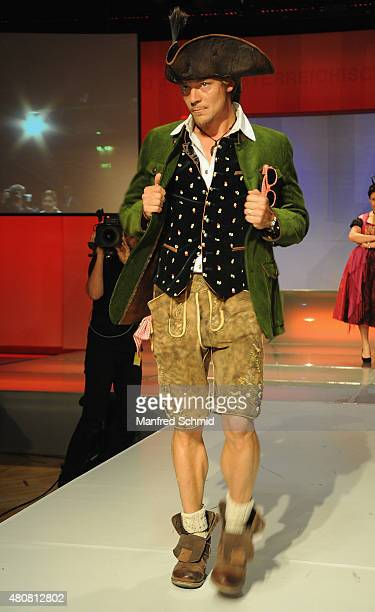 Christoph von Friedl poses on stage during the Pro Juventute Charity Fashion Show at Studio 44 on April 27 2015 in Vienna Austria