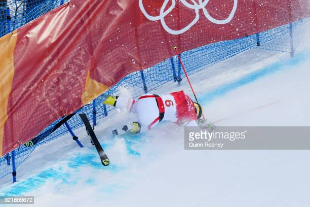 Christoph Wahrestoetter of Austria crashes in the Freestyle Skiing Men's Ski Cross 1/8 finals on day 12 of the PyeongChang 2018 Winter Olympic Games...