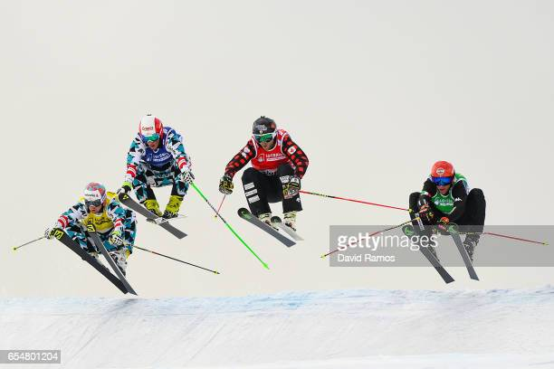 Christoph Wahrstotter of Austria Adam Kappacher of Austria Brady Leman of Canada and Siegmar Klotz of Italy compete in the Men's Ski Cross final on...