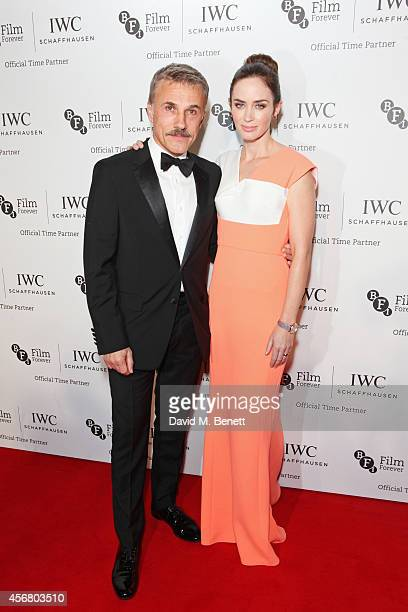 Christoph Waltz and Emily Blunt attend the BFI London Film Festival IWC Gala Dinner in honour of the BFI at Battersea Evolution Marquee on October 7...