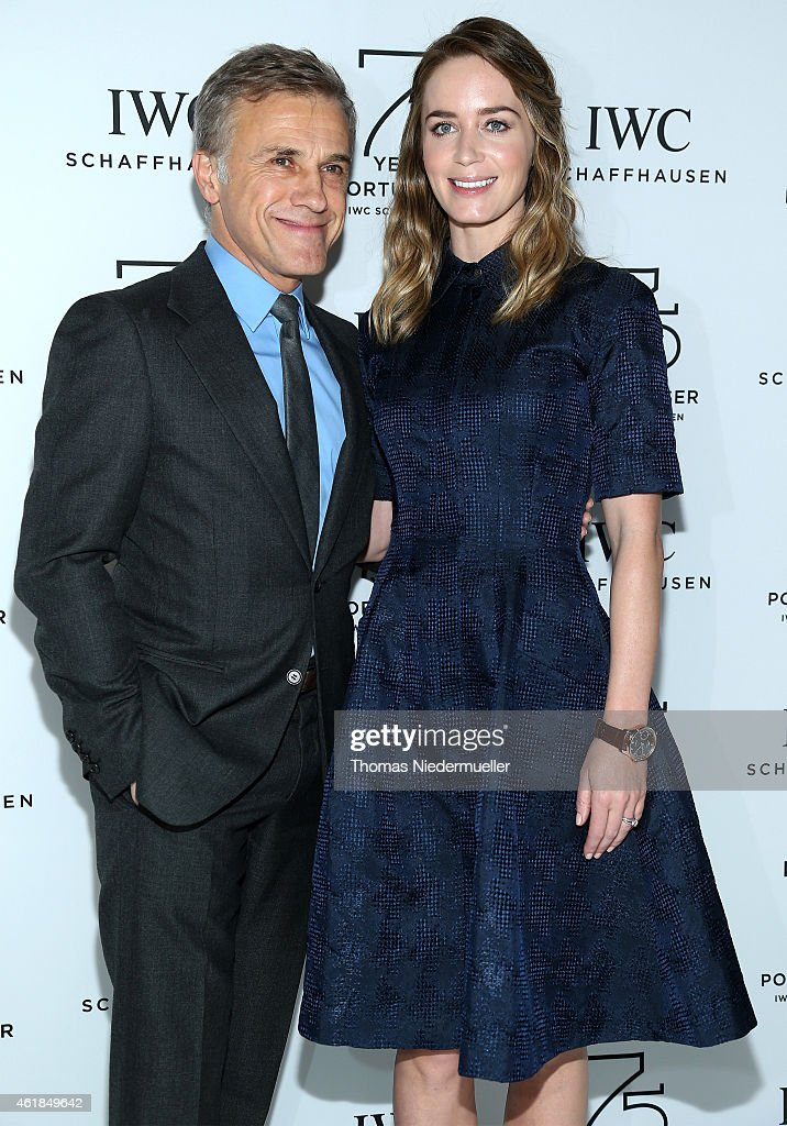 Christoph Waltz and Emily Blunt visit the IWC booth during the Salon International de la Haute Horlogerie (SIHH) 2015 at the Palexpo on January 20, 2015 in Geneva, Switzerland.