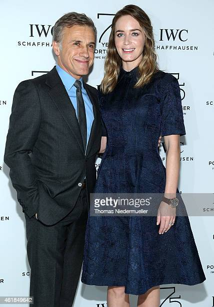 Christoph Waltz and Emily Blunt visit the IWC booth during the Salon International de la Haute Horlogerie 2015 at the Palexpo on January 20, 2015 in...