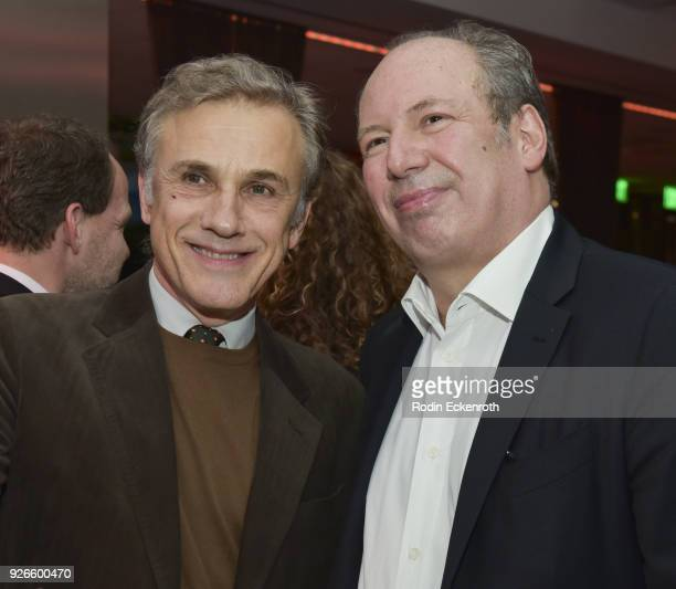 Christoph Waltz and Hans Zimmer pose for a portrait at The Oscars Foreign Language Film Award Directors Reception at the Academy of Motion Picture...