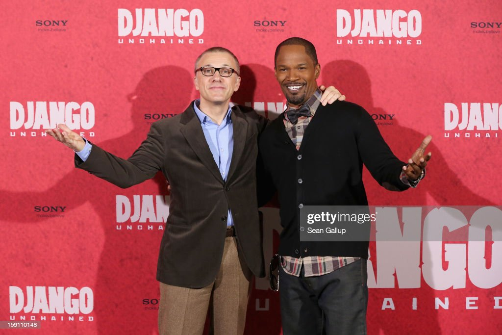 Christoph Waltz and Jamie Foxx attend 'Django Unchained' Berlin Photocall at Hotel de Rome on January 8, 2013 in Berlin, Germany.
