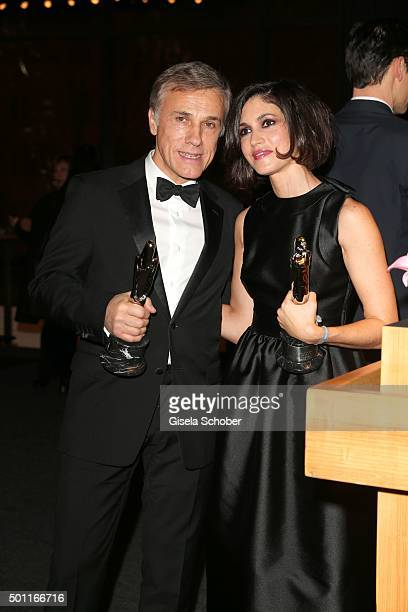 Christoph Waltz and Nerea Barros with award during the European Film Awards 2015 at Haus Der Berliner Festspiele on December 12 2015 in Berlin Germany