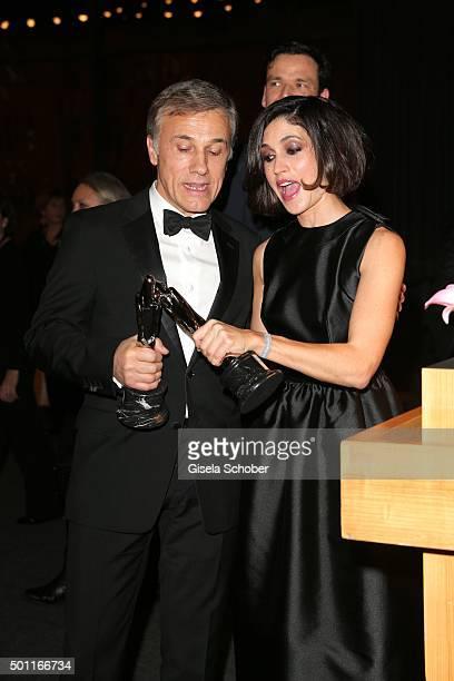 Christoph Waltz and Nerea Barros with award during the European Film Awards 2015 at Haus Der Berliner Festspiele on December 12, 2015 in Berlin,...