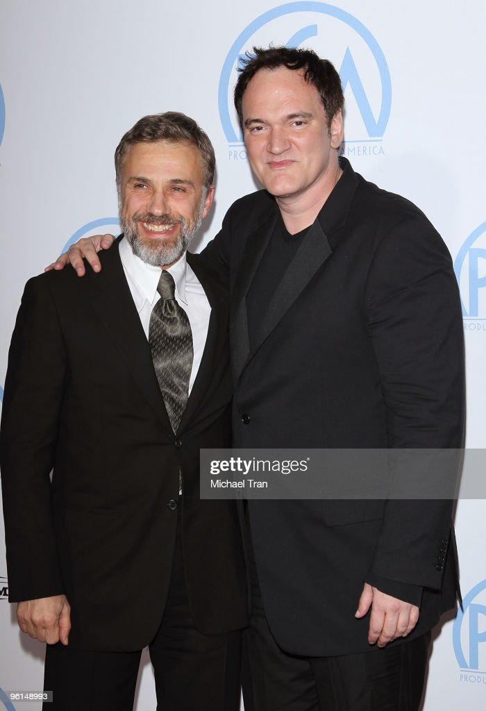 Christoph Waltz (L) and Quentin Tarantino arrive to the 21st Annual PGA Awards held at the Hollywood Palladium on January 24, 2010 in Hollywood, California.