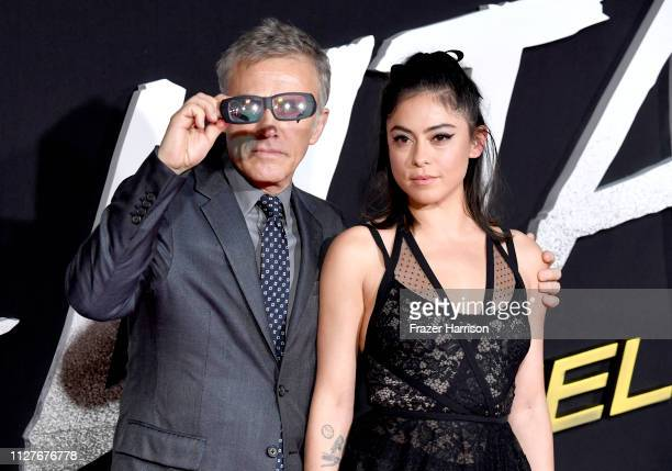 Christoph Waltz and Rosa Salazar attend the premiere of 20th Century Fox's Alita Battle Angel at Westwood Regency Theater on February 05 2019 in Los...