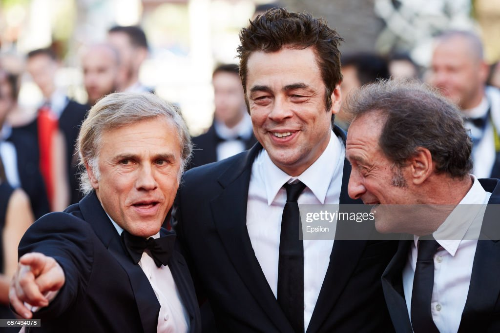 Christoph Waltz, Benicio del Toro,Vincent Lindon attend the 70th Anniversary of the 70th annual Cannes Film Festival at Palais des Festivals on May 23, 2017 in Cannes, France.