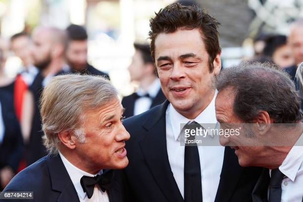 Christoph Waltz Benicio del ToroVincent Lindon attend the 70th Anniversary of the 70th annual Cannes Film Festival at Palais des Festivals on May 23...