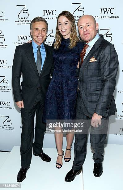 Christoph Waltz, Emily Blunt and IWC Schaffhausen CEO George Kern visit the IWC booth during the Salon International de la Haute Horlogerie 2015 at...