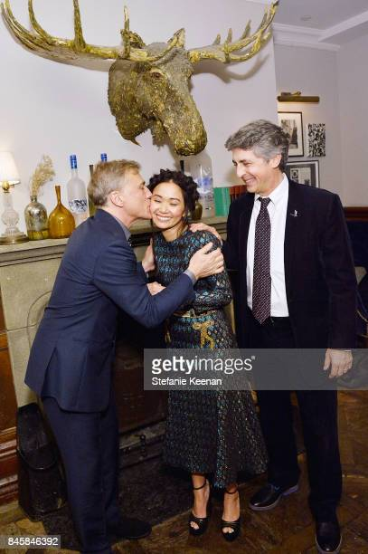 Christoph Waltz Hong Chau and Alexander Payne at the DOWNSIZING premiere party hosted by GREY GOOSE Vodka and Soho House on September 11 2017 in...