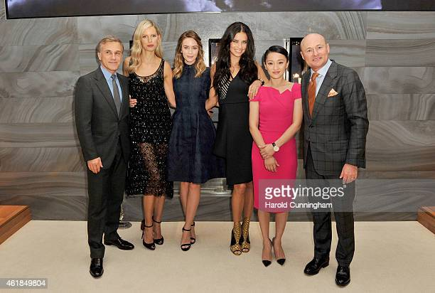 Christoph Waltz, Karolina Kurkova, Emily Blunt, Adriana Lima, Zhou Xun and IWC Schaffhausen CEO George Kern visit the IWC booth during the Salon...