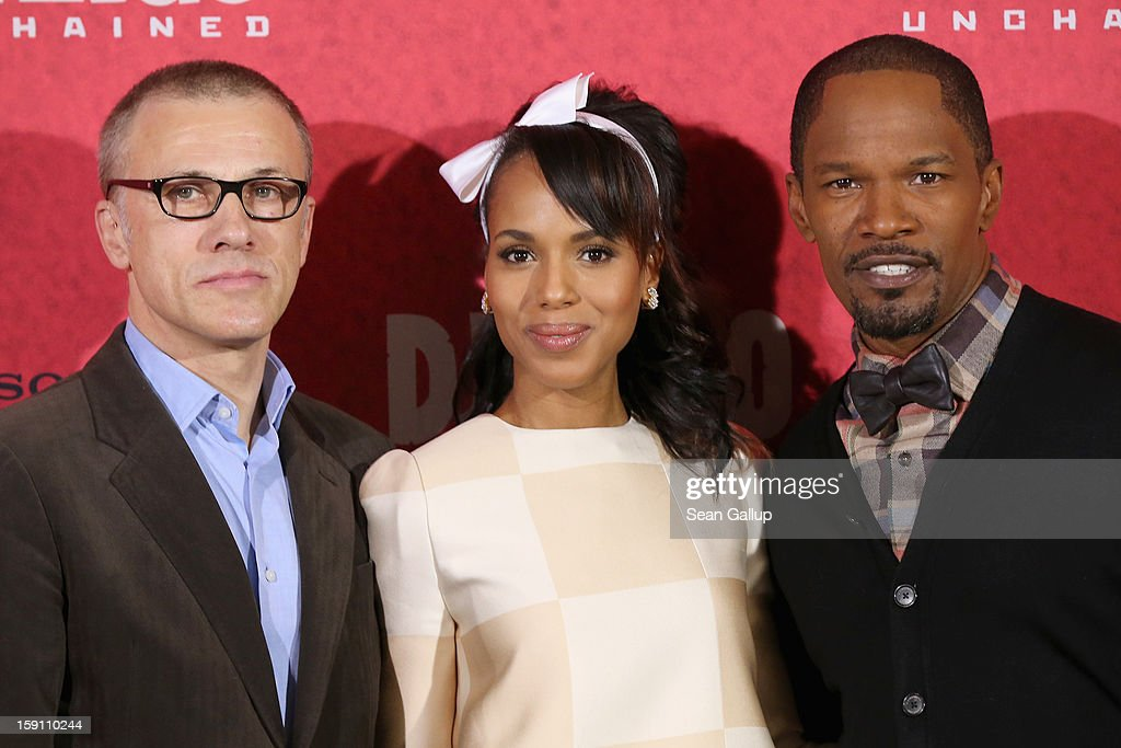 Christoph Waltz, Kerry Washington and Jamie Foxx attend 'Django Unchained' Berlin Photocall at Hotel de Rome on January 8, 2013 in Berlin, Germany.