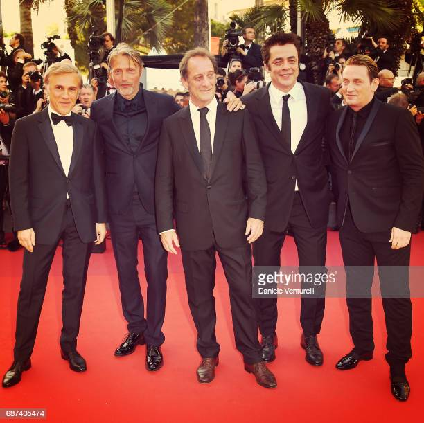 Christoph Waltz Mads Mikkelsen Vincent Lindon Benicio del Toro and Benoit Magimel attend the 70th Anniversary screening during the 70th annual Cannes...