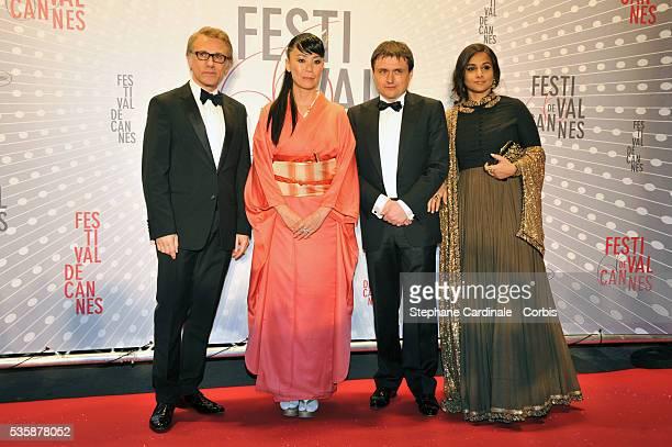 Christoph Waltz Naomi Kawase Cristian Mungiu and Vidya Balan attend the 'Palme D'Or Winners dinner' during the 66th Cannes International Film Festival