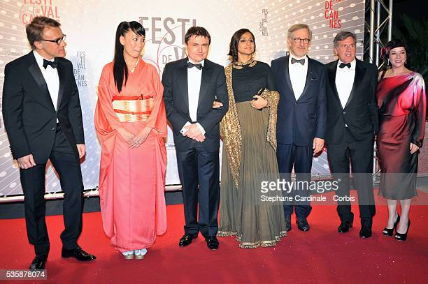 Christoph Waltz Naomi Kawase Cristian Mungiu Vidya Balan Steven Spielberg Daniel Auteuil and Lynne Ramsay attend the 'Palme D'Or Winners dinner'...