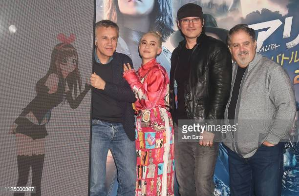 Christoph Waltz Rosa Salazar director Robert Rodriguez and producer Jon Landau attend the press conference for 'Alita Battle Angel' at YouTube Space...