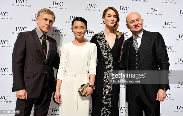 Christoph Waltz Zhou Xun Emily Blunt and IWC Schaffhausen CEO George Kern attend the IWC Gala Dinner during the Salon International de la Haute...