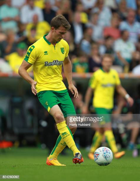 Christoph Zimmermann of Norwich in action during the preseason friendly match between Norwich City and Brighton Hove Albion at Carrow Road on July 29...
