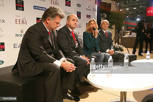 Christophe Ameeuw Mr Poulain Virginie CouperieEiffel and Nelson Pessoa attend the International Gucci Masters Competition Press Conference on...