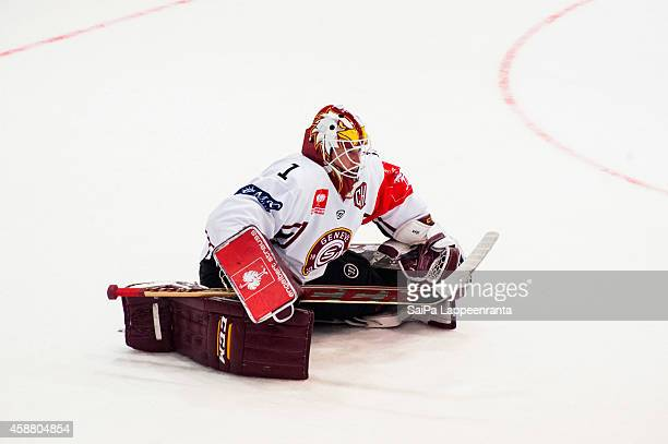 Christophe Bays of Geneve Servette warming up during the Champions Hockey League round of 16 second leg game between SaiPa Lappeenranta and...