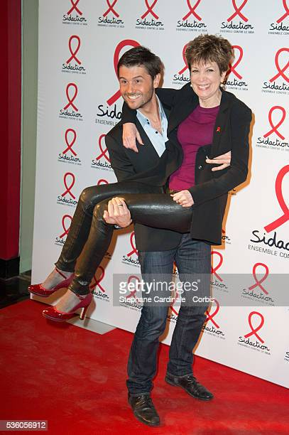 Christophe Beaugrand and Catherine Laborde attend the launch of the 2015 Sidaction held at the Musee du quai Branly on March 2 2015 in Paris France