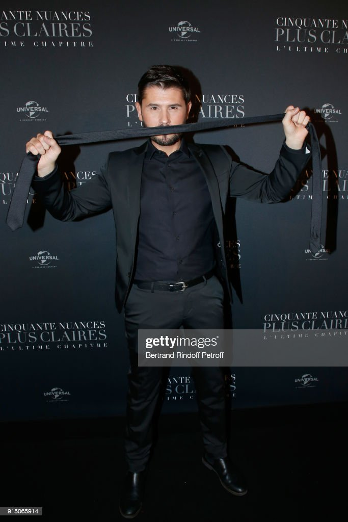 Christophe Beaugrand, who plays a scene from the movie, attends the 'Fifty Shades Freed - 50 Nuances Plus Clair' Paris Premiere at Salle Pleyel on February 6, 2018 in Paris, France.