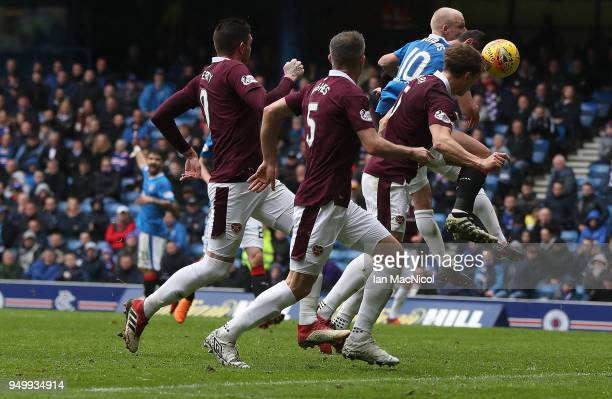 Christophe Berra of Heart of Midlothian scores during the Ladbrokes Scottish Premiership match between Rangers and Hearts at Ibrox Stadium on April...