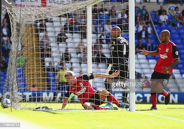 Christophe Berra of Ipswich Town scores a goal during the Sky Bet Championship match between Birmingham City and Ipswich Town at St Andrews Stadium...