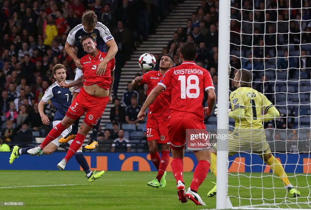 Christophe Berra of Scotland scores the opening goal during the FIFA 2018 World Cup Qualifier between Scotland and Malta at Hampden Park on September 4, 2017 in Glasgow, Scotland.