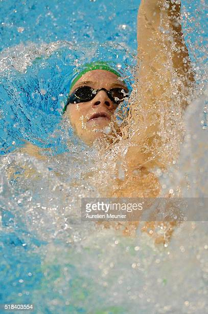 Christophe Brun of France competes in the 200m Men's backstroke final on day three of the French National Swimming Championships on March 31 2016 in...