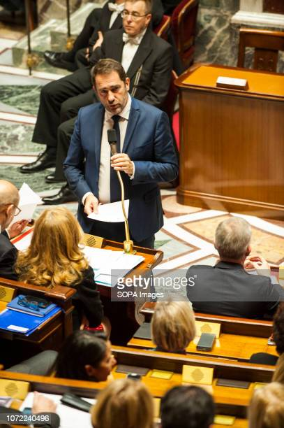 Christophe Castaner Minister of Interior seen speaking at a session of questions to the government at the National Assembly.